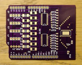 An Arduino shield to control high power (~1W/channel) RGB LEDs. Can control up to 5 LEDs with one shield and is chainable.