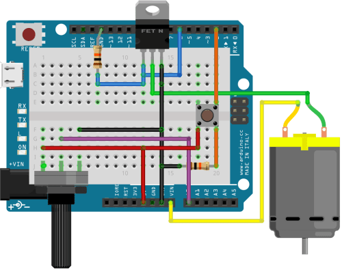 A circuit that allows for controlling a load (a motor, light, shape memory alloy, etc) using gesture (turning a dial), and then a record button to save the motion.