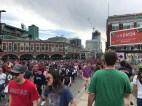 Fans piled out of Fenway park after a Red Sox win on Marathon Monday