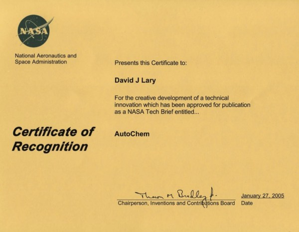 AutoChem TechBrief Certificate of Recognition January 27, 2005