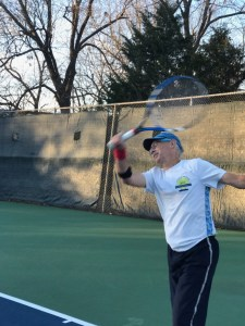 David Linebarger completing a forehand shot