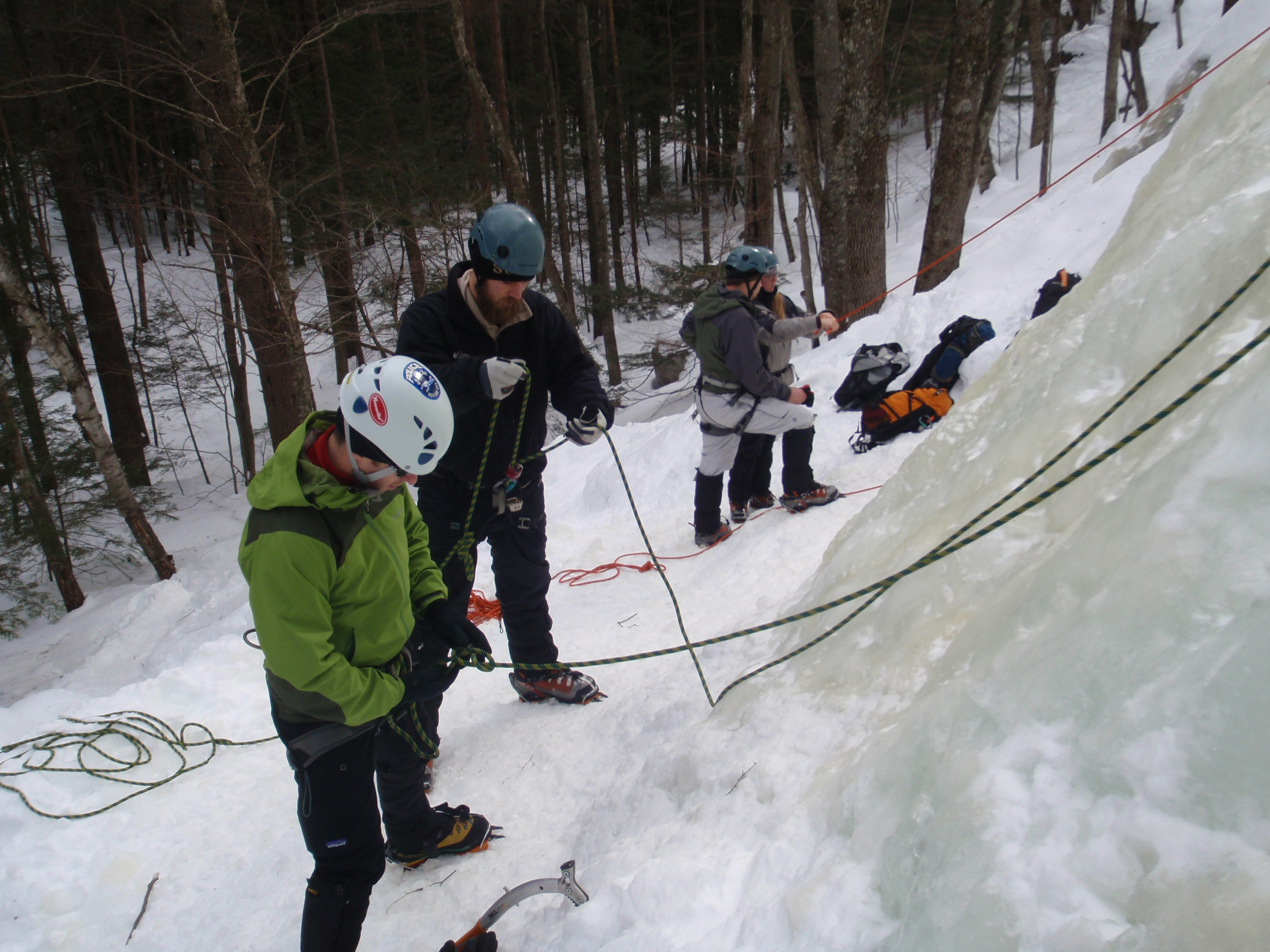 Shane and Michael review their belaying skills...