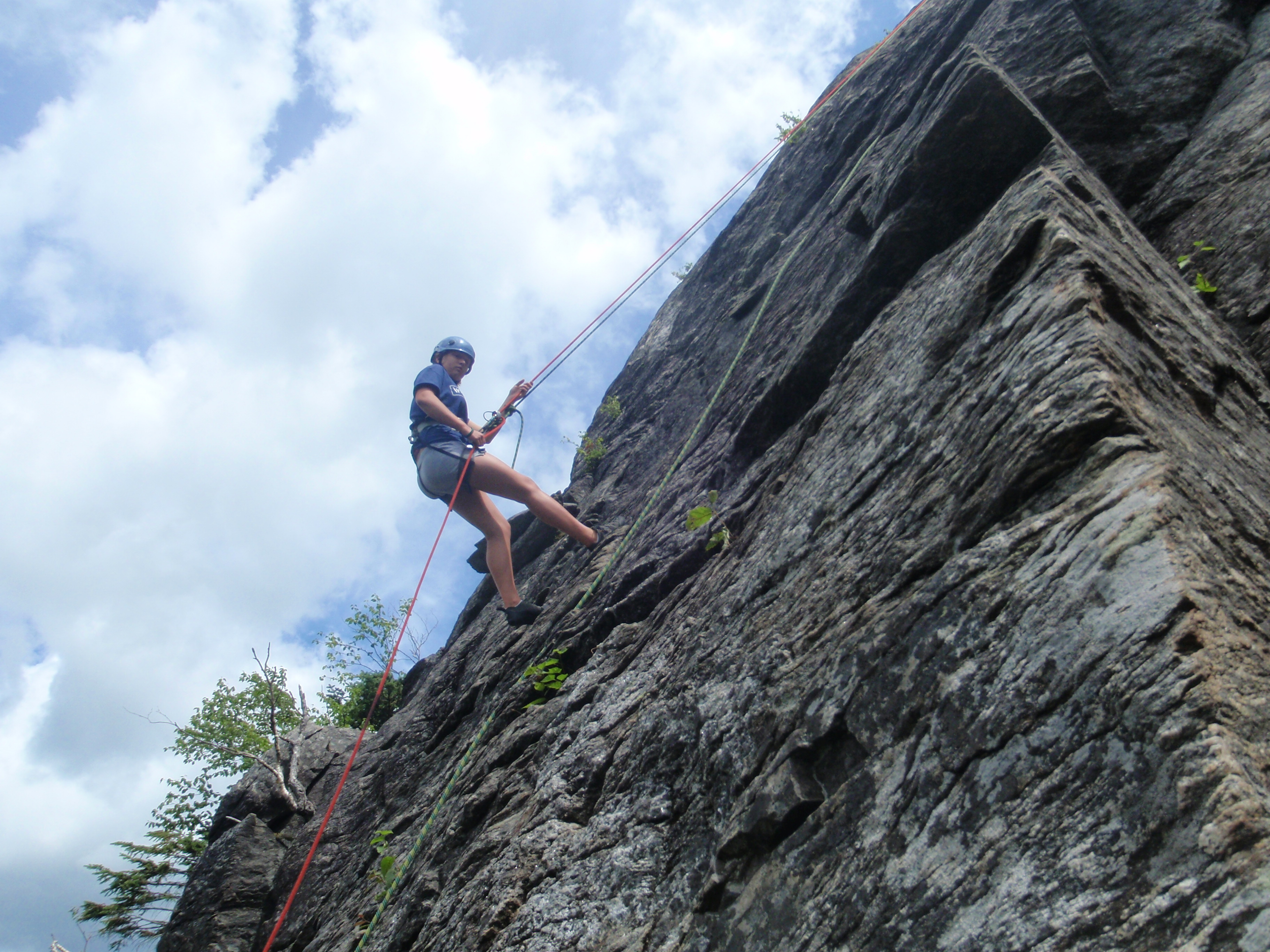 Once at the top each climber was rigged to rappel back down...