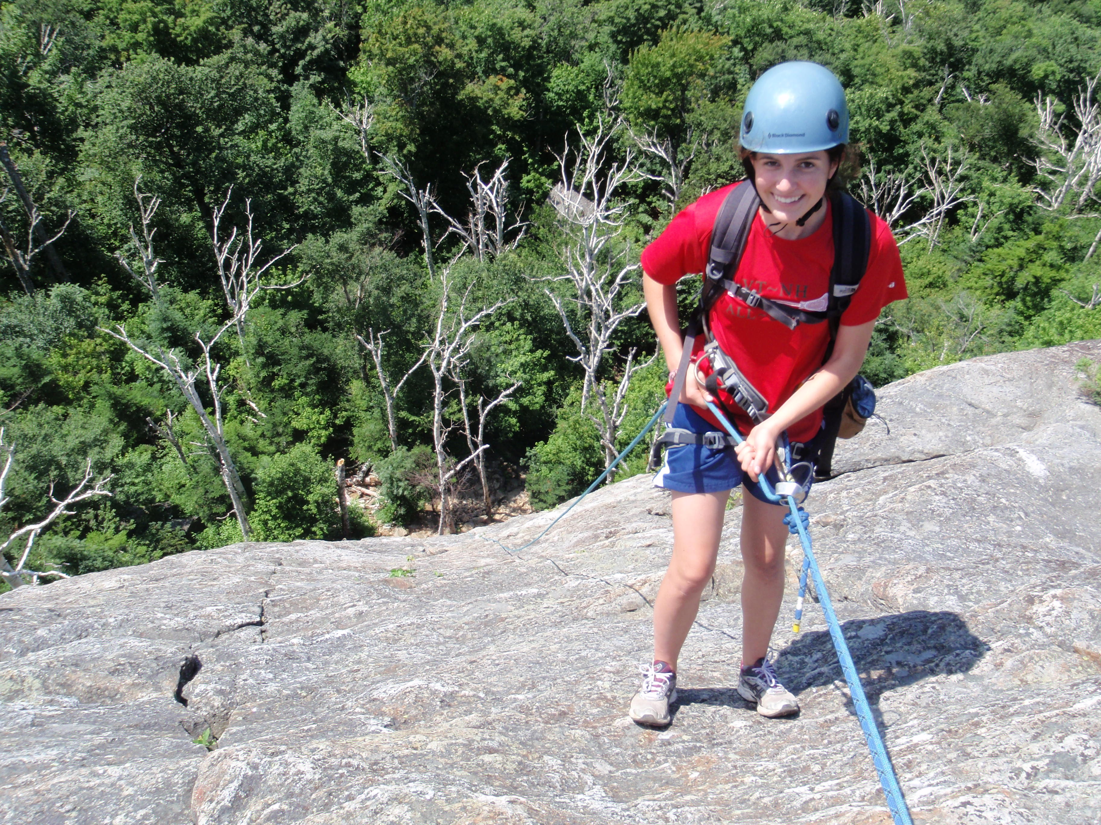 We finished the day rappelling the 165 foot West Face we had climbed that morning...