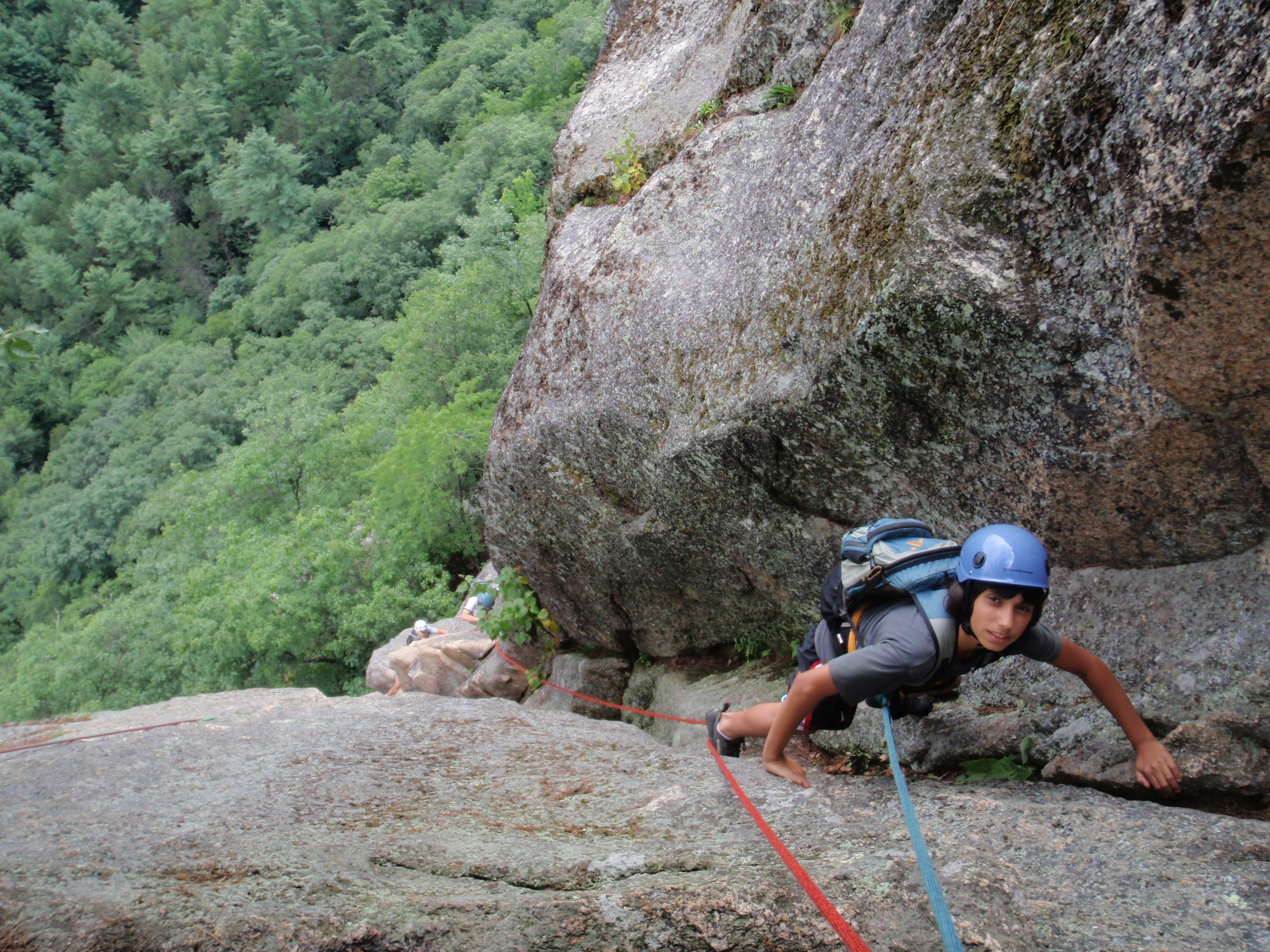 """Andy climbing the 2nd pitch of """"Upper Refuse"""""""