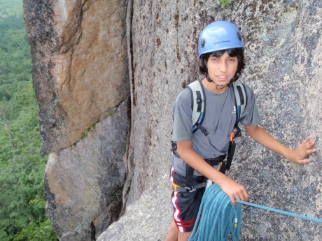 "Andy hanging out at the ""hanging belay"" stance..."
