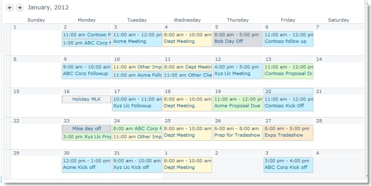 Color coded SharePoint calendar