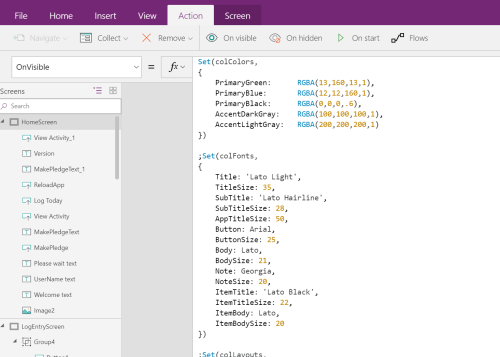 PowerApps Style sheet in the OnVisible property