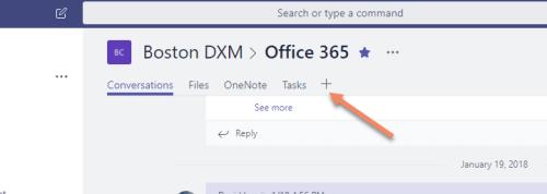 Microsoft Teams add a new tab