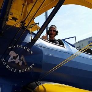 Author David McCaleb, aerobatic flight