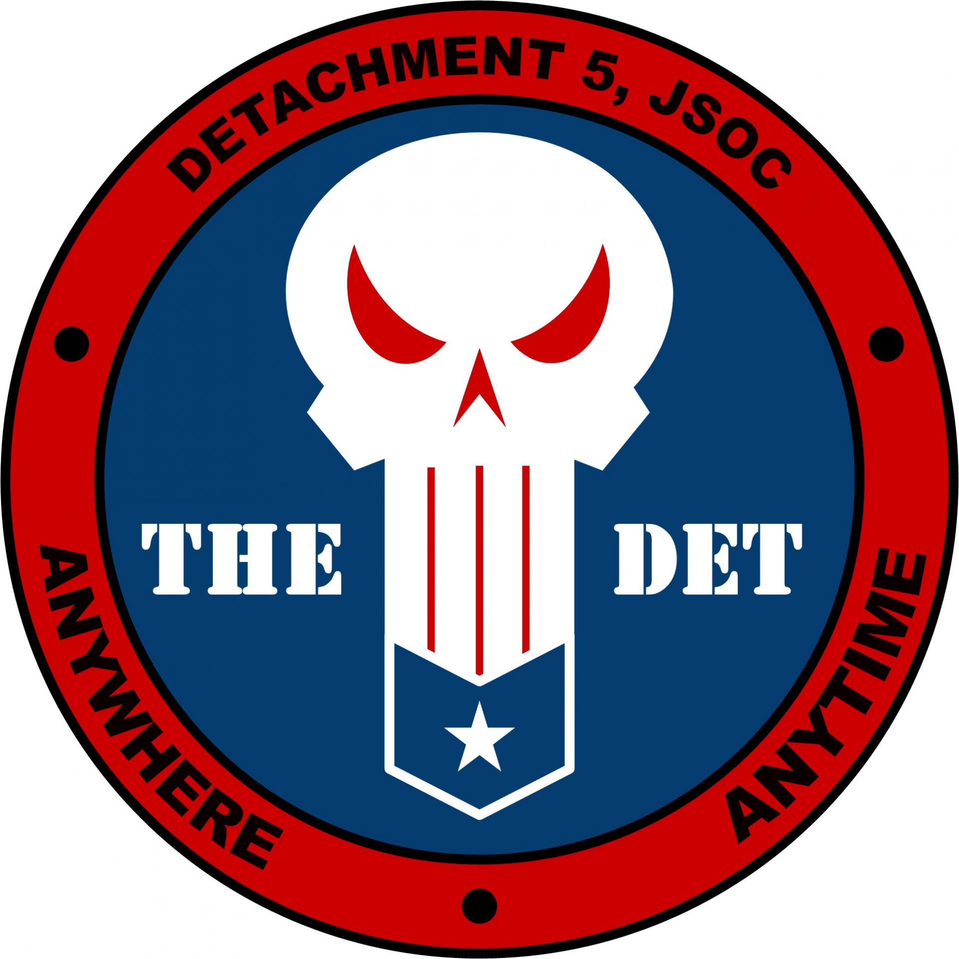 Logo for the DET, a squadron patch of a white skull on blue background with inscription JSOC, Detachment 5, Anywhere, Anytime