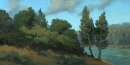 """summer bank - shasta   8"""" x 16"""" oil on board - SOLD Renown permanent collection"""