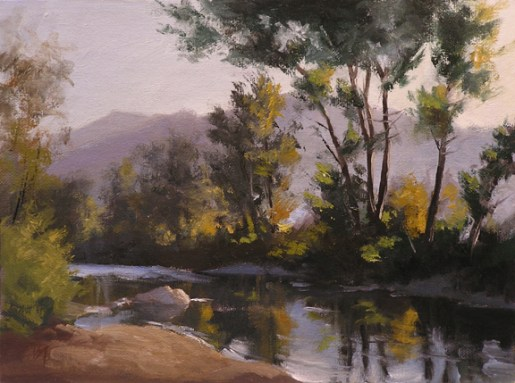 """on the truckee, verdi - early fall   9"""" x 12"""" oil on canvas board - SOLD private collection"""