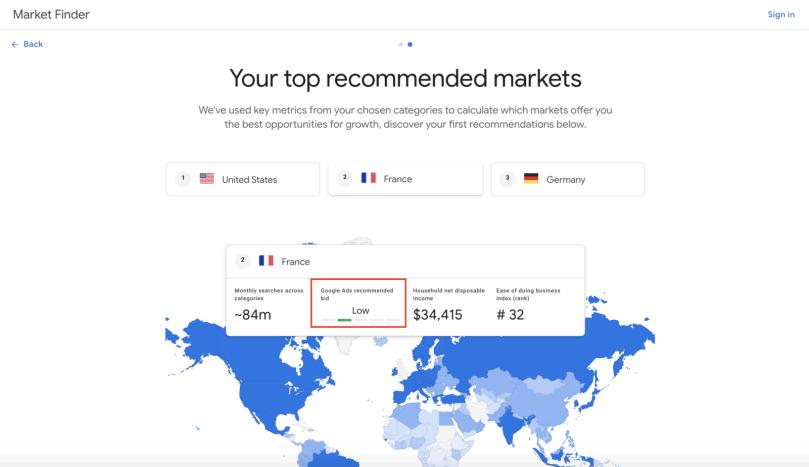 Google market finder interface