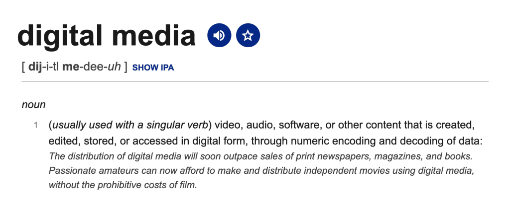 The Digital media definition