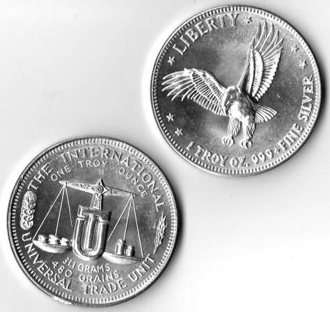 1 OZ .999 Fine Silver Liberty Flying Eagle International Universal Silver Trade Unit Round