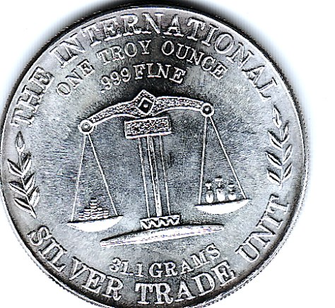 1 OZ .999 Fine Silver Flying Eagle International Trade Unit Round Back