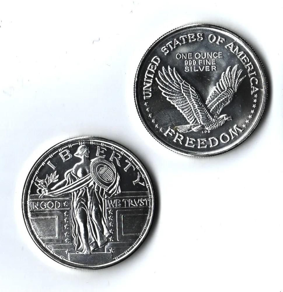 1 Oz 999 Fine Silver Liberty Walking In God We Trust Us