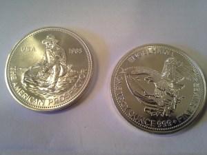 1985 Engelhard American Prospector 1oz .999 Fine Silver Round – Uncirculated