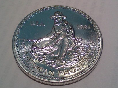 1984 Englehard American Prospector 1oz .999 Fine Silver Round - Uncirculated - Obverse