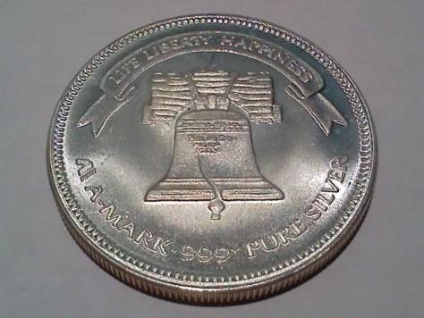 1 OZ .999+ Fine Silver AMark Liberty Round – 1988