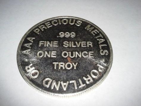 1 OZ .999 Fine Silver AAA Precious Metals of Portland Oregon Round