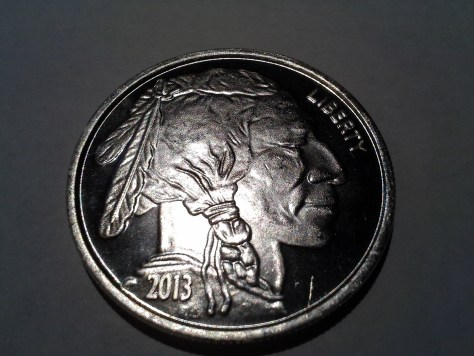 2013 Silver American Indian Head and Buffalo 1 OZ .999 Fine Silver Round