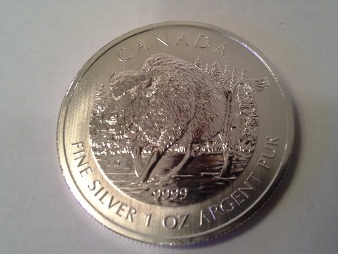 2013 Canadian Silver Wood Bison 1 oz .9999 Fine Wildlife Series