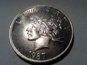 1 OZ .999 Fine Peace Dollar Round struck in 1987