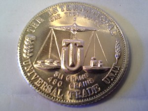 1 OZ .999 Fine Silver Silver World Trade International Trade Unit Round – 1974