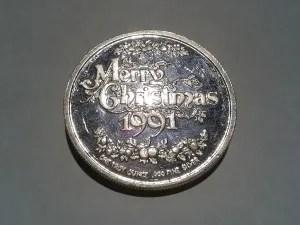 1 OZ .999 Fine Silver St. Nick Art Christmas Round - 1991
