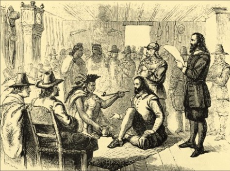 Massasoit and governor John Carver smoking a peace pipe