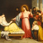 Healing Peter's mother-in-law by John Bridges, 19th century. Mark 1:29-31, Luke 4:38-41 and Matthew 8:14-15.