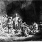 Christ Healing, by Rembrandt, 1649.  Christ heals man with dropsy. Luke 14:1-6