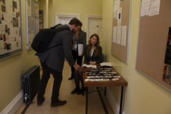 Delegate registration at the David Mitchell conference