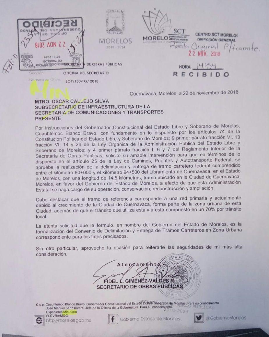 Solicitud oficial del gobierno de Morelos a SCT para la entrega del paso Exprés.