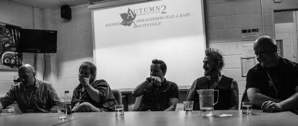 David Moody, Adam Baker, Sean T Page, Adam Millard and Simon Coleby at Horror in the East. (Photo: Deborah Cosgrove - deborahcosgrovephotography.co.uk)