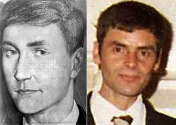An artist's impression of Bible John and Peter Tobin in the late 1960s.