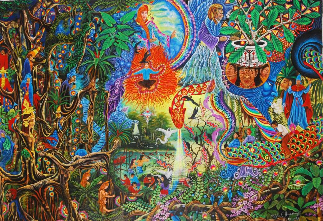 Psychedelic art by Pablo Amaringo -- a vision of consciousness and madness courtesy of Google search