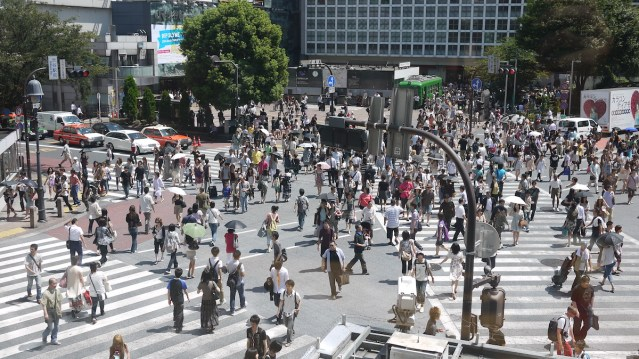 Busy Shibuya Crossing (2010).