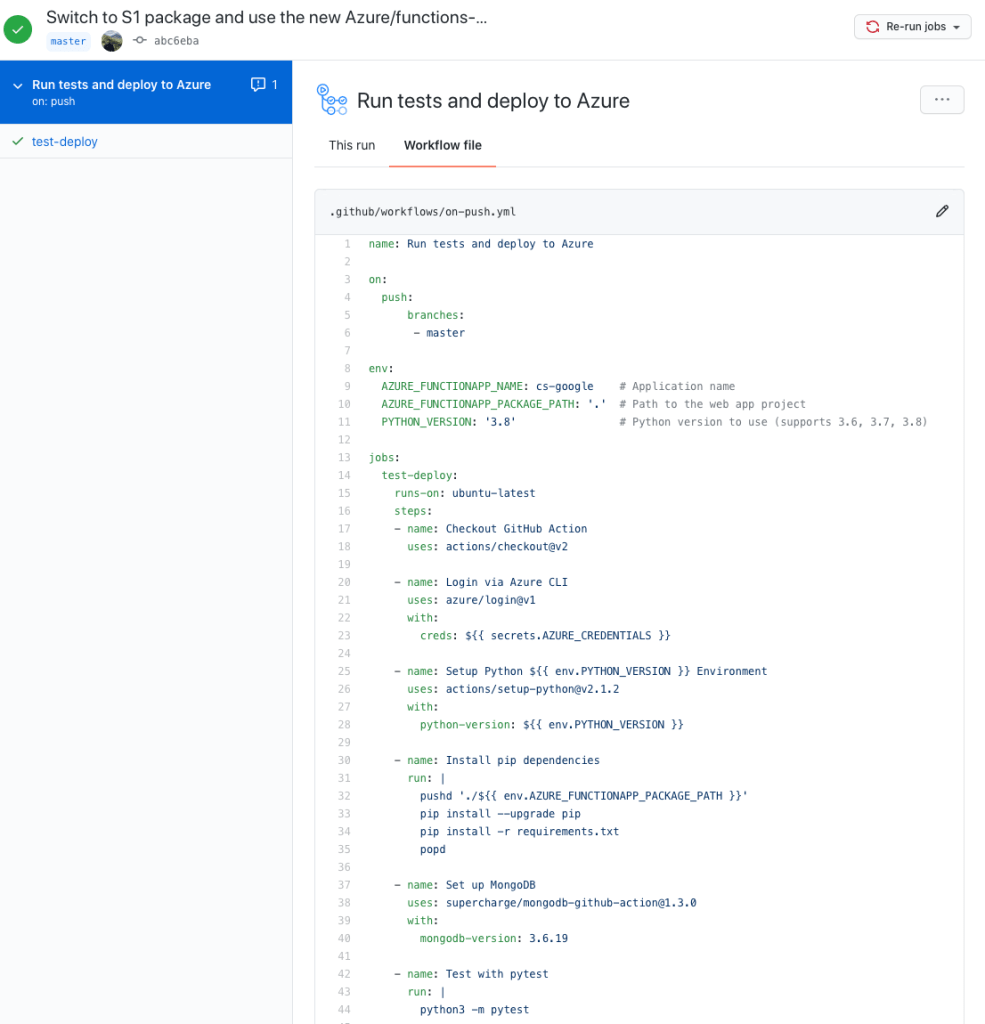 GitHub Actions running tests and deploying to Azure