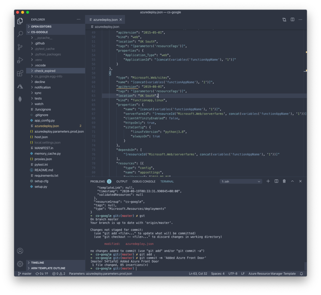Editing an Azure Resource Manager template in VS Code (Nord theme).