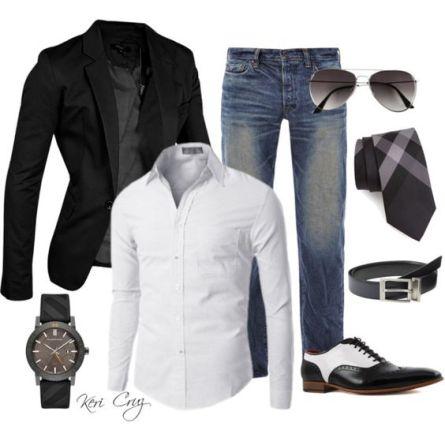 Saco negro con jeans