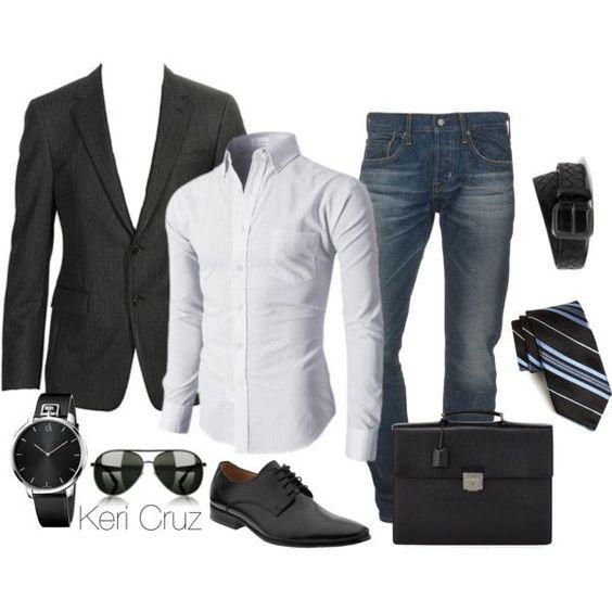 Jeans con saco negro y zapatos negros