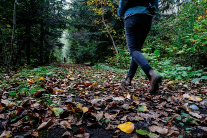 A woman takes a walk down a leaf-strewn forest path.