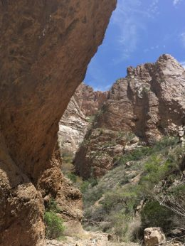 Rock walls towering along Window Trail