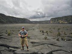 Standing on the crater floor of Kīlauea Iki