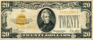 A US Gold Certificate, ca1928