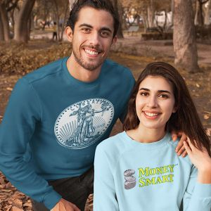 Young couple wearing MoneySmart apparel.