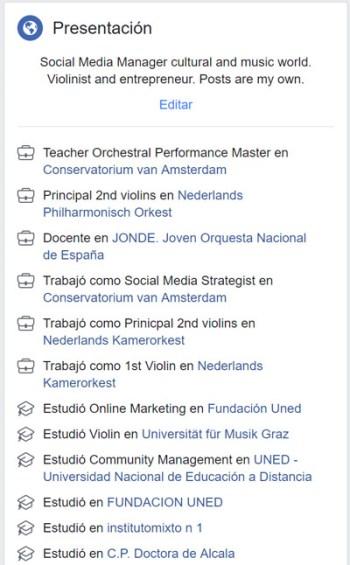 Curriculum en Facebook